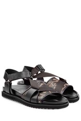 Alexander Mcqueen Leather Sandals With Print Green