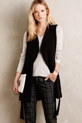 Anthropologie Draped Trench Vest Black