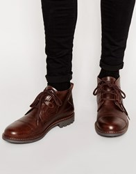 Firetrap Leather Lace Up Desert Boots Brown