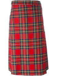 Palm Angels Checked A Line Skirt Red