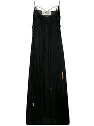 Ports 1961 Fringed Sleeveless Maxi Dress Black