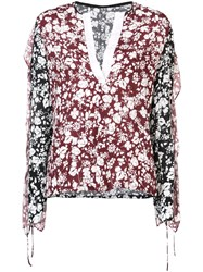 Yigal Azrouel Floral Blouse Red