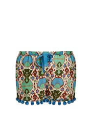 Figue Maja Cotton Blend Organdie Shorts Green Multi