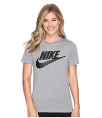 Nike Sportswear Essential Short Sleeve Top Carbon Heather Anthracite Black Women's T Shirt Gray