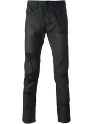 Diesel Black Gold Distressed Coated Skinny Jeans