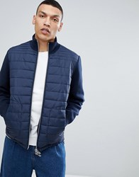 Selected Homme Quilted Jacket With Knitted Sleeves Dark Saphire Navy