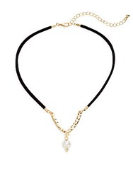 Cara Faux Suede And Faux Pearl Choker Necklace Black