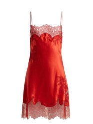 Carine Gilson Lace Trimmed Silk Satin Slip Dress Red