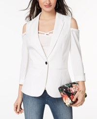 Xoxo Juniors' Cold Shoulder Blazer Cloud Dancer