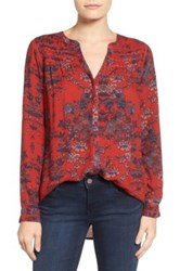 Lucky Brand Vintage Print Blouse Red