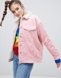 Monki Shearling Collar Cord Jacket In Pink