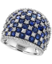 Effy Royale Bleu By Sapphire 4 1 2 Ct. T.W. And Diamond 1 1 4 Ct. T.W. Checkerboard Statement Ring In 14K White Gold