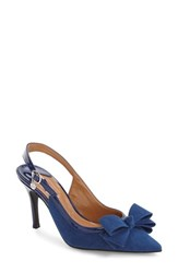 J. Renee Women's Charis Slingback Bow Pump Imperial Blue Faux Suede