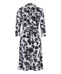 Olsen Shadow Flower Print Dress Off White