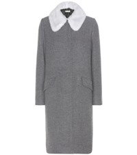 Miu Miu Virgin Wool And Angora Coat With Detachable Mink Fur Collar Grey
