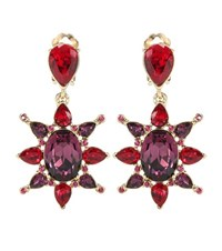 Oscar De La Renta Crystal Clip On Earrings Red