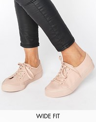 Asos Destiny Wide Fit Lace Up Trainer Nude Beige