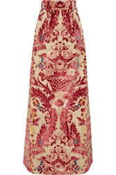 Miu Miu Devore Silk And Cotton Blend Maxi Skirt Pink