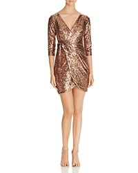 Aqua Sequin Faux Wrap Dress Copper