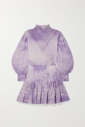 Loveshackfancy Viola Crochet Trimmed Embroidered Tie Dyed Cotton Voile Mini Dress Lavender