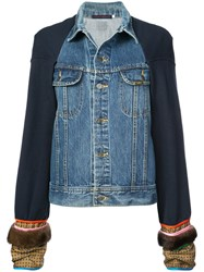 Harvey Faircloth Panelled Denim Jacket Blue