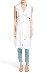 Women's Vince Camuto Belted Sleeveless Linen Duster Ultra White