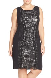 Plus Size Women's Nic Zoe 'Layered Lace' Knit Sleeveless Sheath Dress