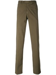 Canali Tailored Trousers Men Cotton Spandex Elastane 48 Green