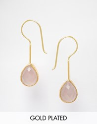 Ottoman Hands Rose Quartz Drop Earrings Gold