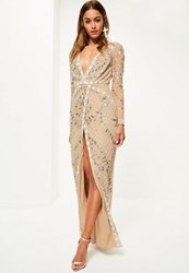 Missguided Bridal Nude Long Sleeve Plunge Embellished Maxi Dress