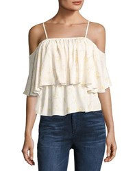 Bishop Young Lily Cold Shoulder Tiered Tank White Pattern