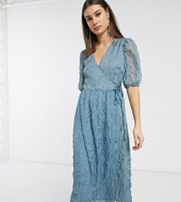 Glamorous Tall Midaxi Wrap Dress With Volume Sleeves In Texture Blue