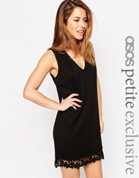 Asos Petite Shift Dress With V Neck And Lace Hem Black