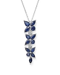 Bloomingdale's Sapphire And Diamond Flower Drop Pendant Necklace In 14K White Gold 18