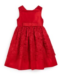 Luli And Me Sleeveless Collared Lace Trim Party Dress Red