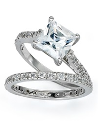 B. Brilliant Sterling Silver Rings Set Cubic Zirconia Princess Cut Engagement Ring And Band Set 2 1 5 Ct. T.W.