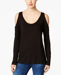 Kut From The Kloth Cold Shoulder Open Back Top Black