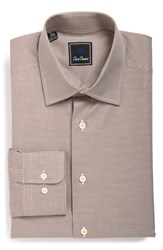 Men's Big And Tall David Donahue Traditional Fit Houndstooth Dress Shirt Chocolate