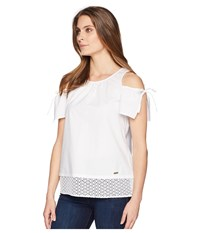 Ellen Tracy Shoulder Focus Poplin Top W Eyelet Lace E White Blouse