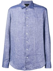 Emporio Armani Plain Button Shirt Purple