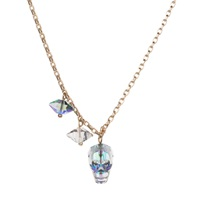 Nadia Minkoff Crystal Skull And Double Spike Necklace Crystal Paradise Silver