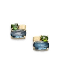 Marco Bicego Murano London Blue Topaz Green Tourmaline And 18K Yellow Gold Cluster Earrings Gold Multi