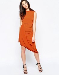 Wal G Dress With Wrap Hem Rust Orange