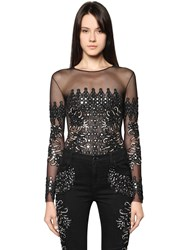 Amen Couture Beaded Embroidered Tulle Bodysuit