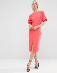 Asos Wiggle Dress With Split Front Red
