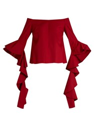 Ellery Delores Off The Shoulder Cotton Top Red