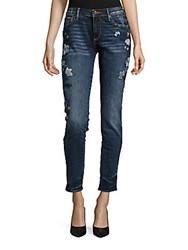 Driftwood Marylin Floral Embroidered Jeans Blue