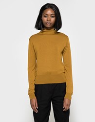 Margaret Howell Buttoned Roll Neck In Ochre