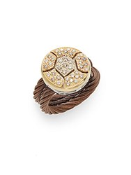 Alor Petra 18K Yellow White And Rose Gold Diamond Ring Gold Brown