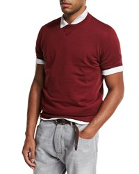 Brunello Cucinelli Athletic Short Sleeve Sweatshirt Cherry